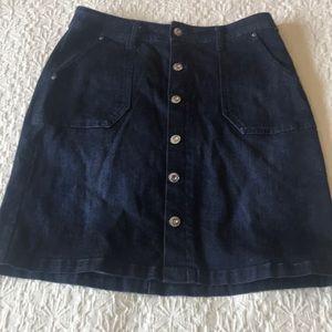 Kenzie button front jean skirt